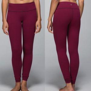 Dark red Lululemon wonder under pants 4